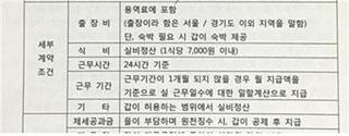 드라마 방송스태프 용역계약서, '근무시간 24시간'