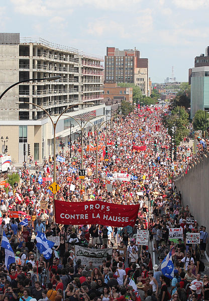 """캐나다 퀘벡 """"붉은 광장"""" 학생시위 이야기"""