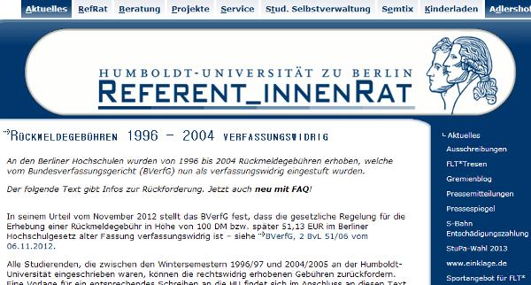 베를린 훔볼트대학이 연방헌재의 등록금 징수 위헌 판결을 알리며 해당 기간 졸업생들에게 환불을 신청할 수 있다고 공지하고 있다.